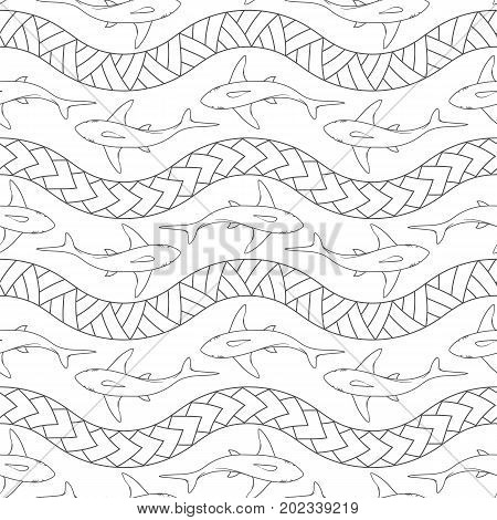Seamless pattern with sharks and Polynesian symbols. Vector illustration.