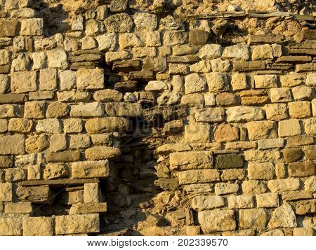 An old fortress wall  antique, archeology, architecture,