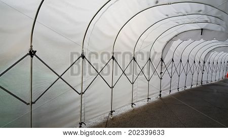tunnel frame made of white plastic arcs abstract image
