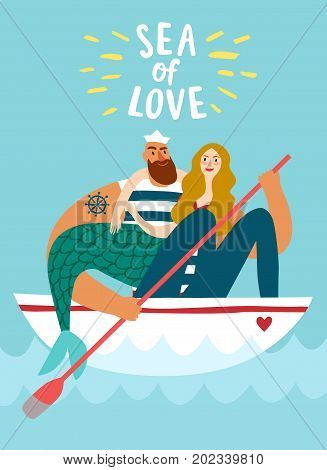 Sailor in boat holding beautiful mermaid.Sea of love title.