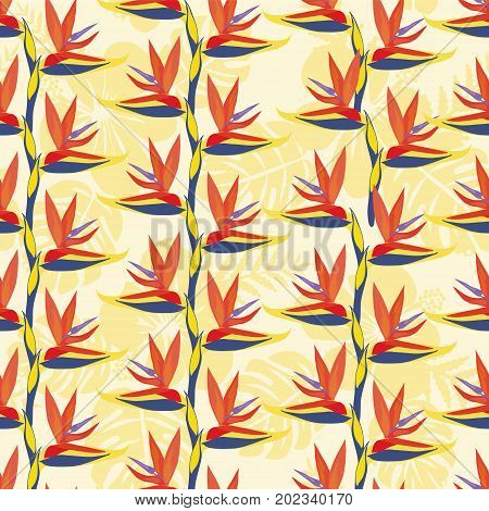 Pattern with Bird of paradise flower - tropical plant.The bird of paradise flower (Strelitzia ) is exotic flowers seamless background.