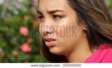 Close Up of a Confused Female Teen