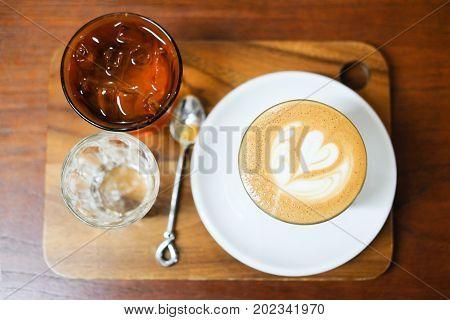 Hot Coffee Latte Art In The Foam On Top