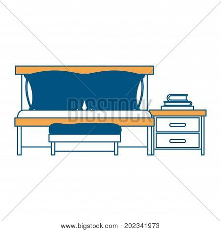 bedroom with sofa bed and books over nightstand color section silhouette on white background vector illustration