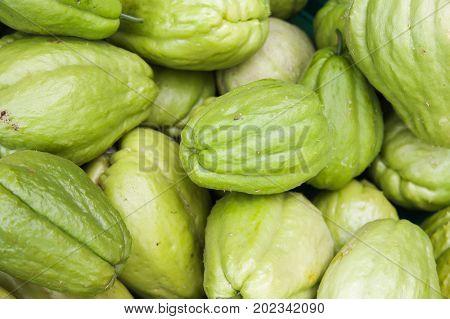Green Chayote Fruits, Close Up Photo