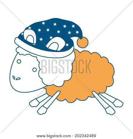 sheep animal with sleeping cap jumping color section silhouette on white background vector illustration