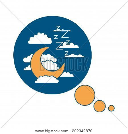 bubble call out with night landscape and snoring sign color section silhouette on white background vector illustration