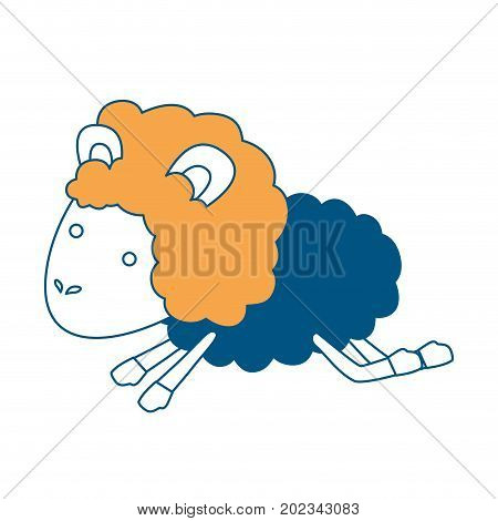 sheep animal jumping color section silhouette on white background vector illustration