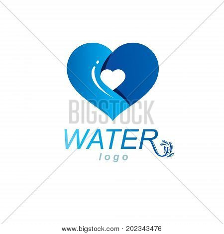 Ocean freshness theme vector symbol for use in mineral water advertising. Living in harmony with nature concept.