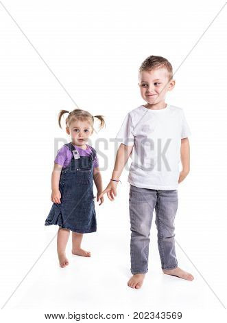 A Little Boy and girl full-lenght portrait