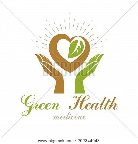 Caring hands holding heart. Alternative medicine concept vector phytotherapy logo. Strong heart is good health.