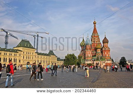 Moscow Russia - 14 July 2017: Red Square in Moscow. Cathedral of Vasily the Blessed commonly known as Saint Basil's Cathedral and GUM - the most famous large store in Russia