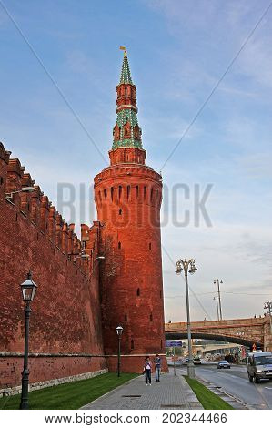 Moscow Russia - 14 July 2017: Beklemishevskaya Tower (also known as Moskvoretskaya Tower) is a corner tower on the southeastern side of the Moscow Kremlin on the Moscow River. The tower was built in 1487-1488