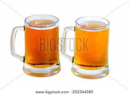 Two mugs of beer isolated on white background