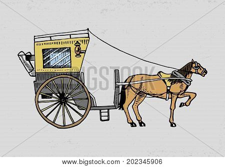 Horse-drawn carriage or coach. Travel illustration. engraved hand drawn in old sketch style, vintage transport
