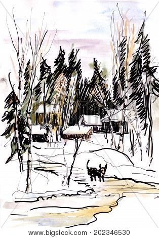 Winter day watercolor landscape with settlement in wood