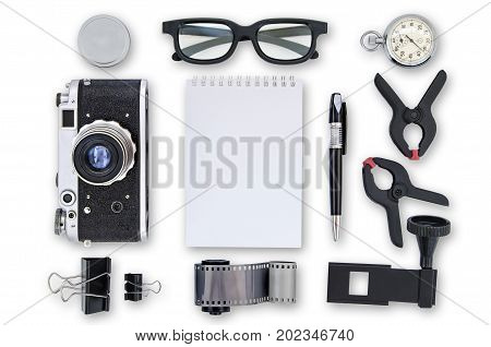 Mock-up - Retro camera film pen clamp notebook clip isolated on white background