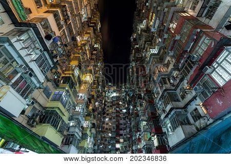 Compact life in Hong Kong at night