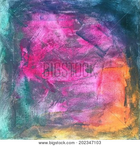 Acrylic Paint on Canvas of Abstract Background in Yellow, Pink, Blue, Green