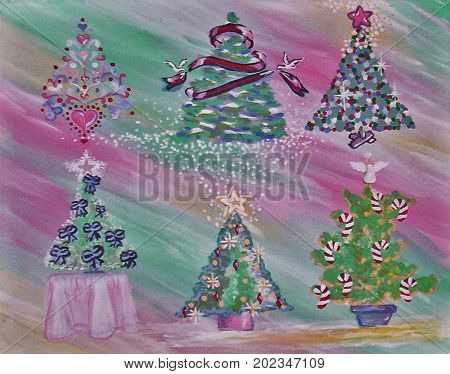Acrylic Painting on Canvas of Christmas Trees in Green, Pink, Red, Gold, White, Blue, Yellow