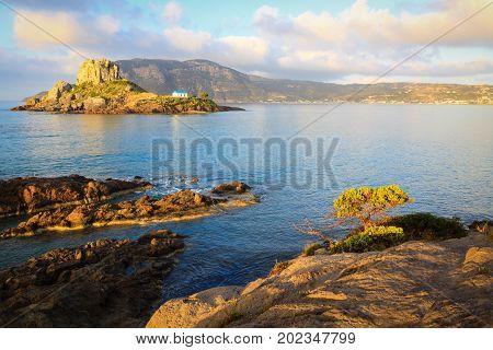 Beautiful landscape at Kefalos bay with small island Kastri Kos Greece.