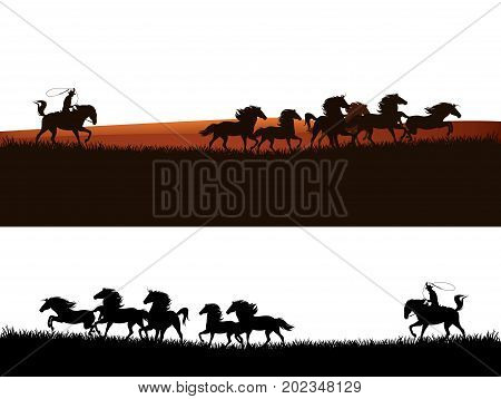 cowboy chasing the herd of wild mustang horses - wild west vector silhouette panoramic design