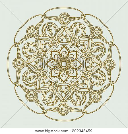 Ornamental circle pattern. vector illustration on gray background