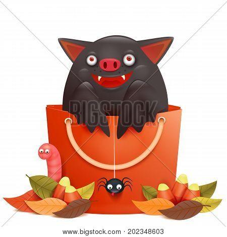 Cute cartoon emotional bat character sitting in sale bag. Halloween composition