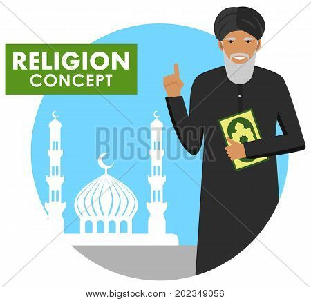 Mufti with quran. Mulla with Koran standing on the background silhouette of mosque and minarets. Vector illustration.