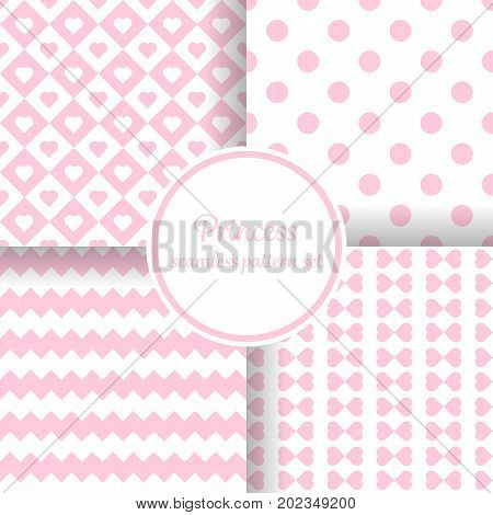 Little princess girl. Romantic pink theme with hearts and other shapes. Seamless vector pattern background set.