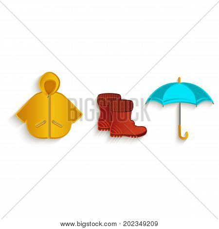 vector cartoon autumn symbol objects set. Isolated illustration on a white background. Rubber boots raincoat and umbrella. Autumn object concept