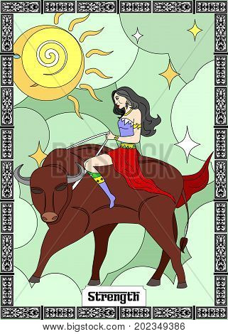 the illustration - card for tarot - the strength.