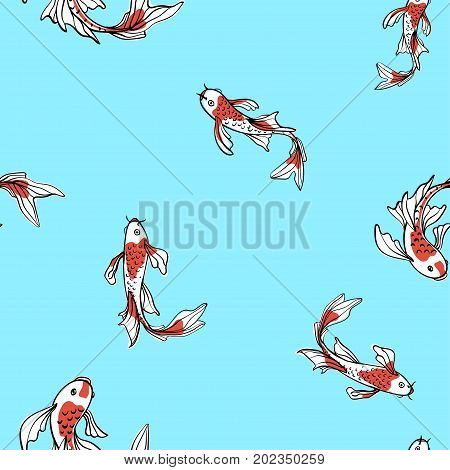 Seamless oriental pattern with Japanese carps koi. A symbol of good luck. Asian blue background, vector illustration. Natural fabric print design.
