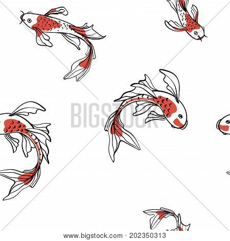 Seamless oriental pattern with Japanese carps koi. A symbol of good luck. Asian background, vector illustration. Natural fabric print design.