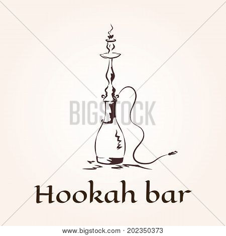 Vector illustration of hookah logo template for club lounge bar or shop.