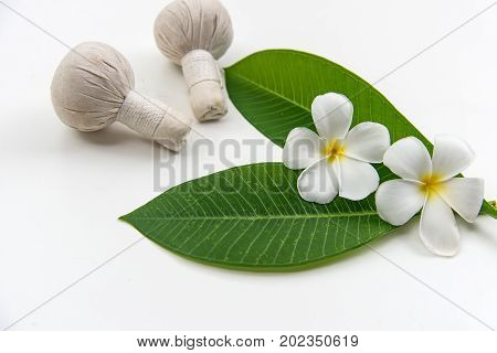 Thai Spa massage compress balls herbal ball and treatment spa relax and healthy care with white flower Thailand. Healthy Concept. select focus