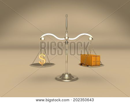 3d illustration of a scale with money symbol and container