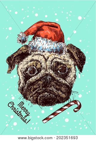 Hand drawn vector illustration pug-dog. Sketch style dog. Symbol of 2018 new year. Us for Invitations, flyers, postcards, smartphone covers etc