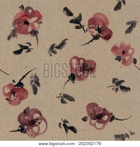 Watercolor and ink illustration of flowers on craft paper. Sumi-e u-sin painting. Seamless pattern.