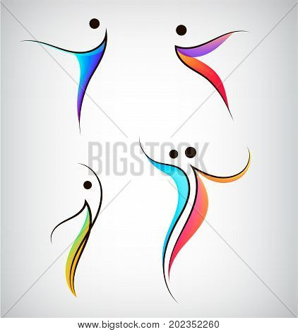 Vector set of figure line silhouette logos, human, men, sport and dancing signs. Abstract stylized people bodies