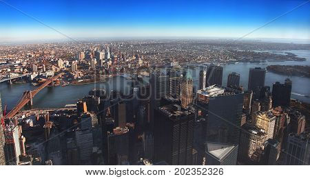 NYC - panoramic view of Manhattan Financial District and Brooklyn