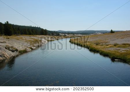 View of the Firehole River early in the morning