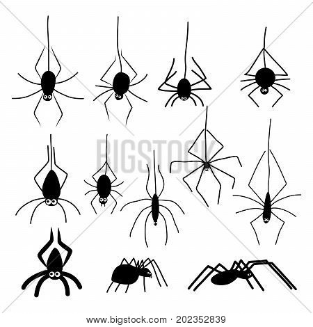 Set of halloween spiders. Black silhouettes of cartoon funny spiders with eyes hanging on a cobweb.