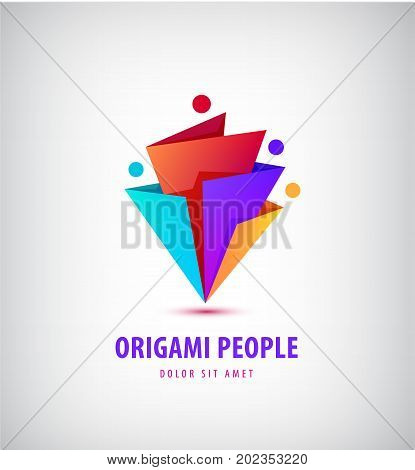 Vector men group logo, human, family, teamwork icon. Community, people sign in modern style, origami 3d. Colorful 4 person