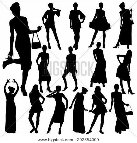 Collection of vector silhouettes of slim young women in various dresses. Sexy beautiful girls in evening and cocktail dresses.