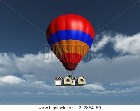 3d illustration of a house held in the air by a balloon