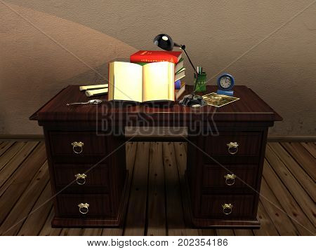 3d illustration of an antique desk with an open book