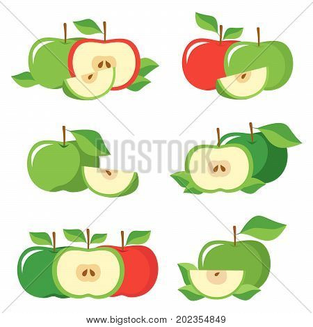 Fresh apples with leaves. Collection of different red and green fresh apples isolated on white background.
