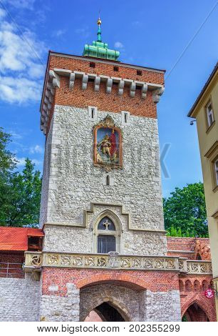 Krakow/Poland- August 15, 2017: view of Saint Florian's or Florian Gate tower - part of city fortification, located on Florianska street, old town
