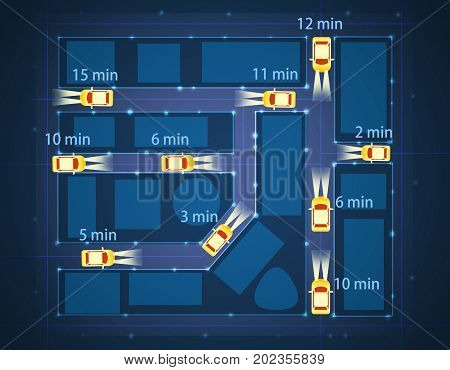 Top view of abstract taxi cab car map with estimated arrival time. Geolocation concept